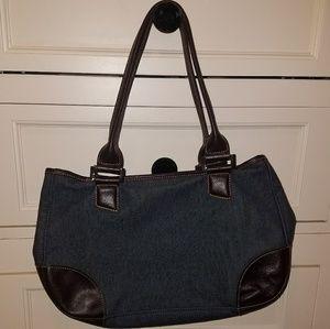 Vintage Longchamp Denim leather purse bag tote